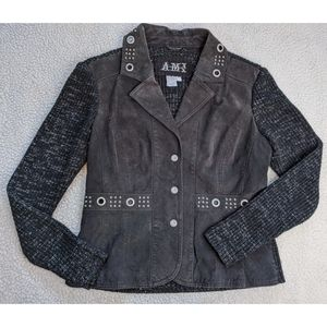 Suede leather AMI jacket with grommets Large ~EUC~